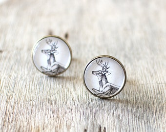 SALE 50% OFF. Deer Cufflinks. Woodland Cufflinks. Nature Cufflinks. Mens Cufflinks. Wedding Cufflinks. Stag Cufflinks.