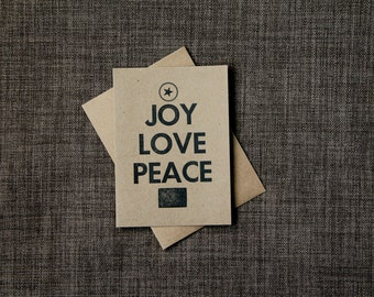 SALE, 4 Rustic Christmas Cards, Kraft Paper Letterpress Cards, Joy, Love, Peace, Set of Four, Christmas in July