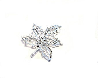 Vintage Leaf Brooch Pin, Signed Gerrys, Silver Tone, Openwork Design, Garden Jewelry, Jacket Coat Hat Brooch Pin, VisionsOfOlde