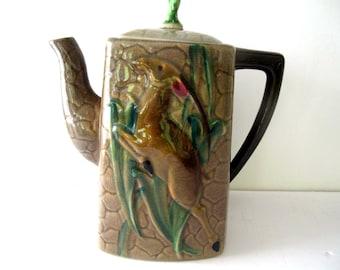 Batlin & Sons Majolica Gazelle Teapot Circa 1930 Estate Find Antique Teapot