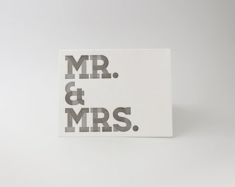 Letterpress Card - Individual Mr. & Mrs. Card