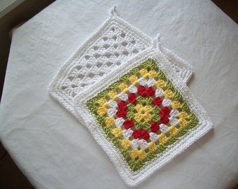 Cotton Dishcloths; Set of Two; Granny Squares with trim