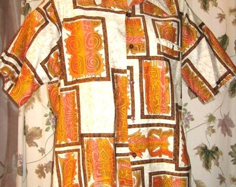 Barefoot in Paradise Cotton Hawaiian Shirt with Tiki Print - Mens - Hipster - Vintage 60s