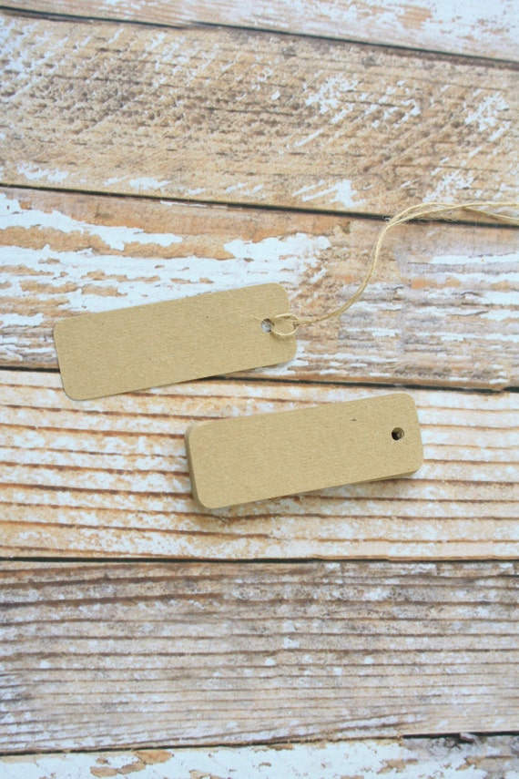 50pc plain recycled KRAFT BROWN Mini Long TAGS