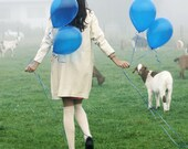 Girl with Balloons and Goats