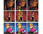 Frozen inspired  Anna 1 inch square image sheet, 15 images, scrabble size