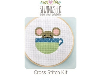 Cute Mouse in a Cup Cross Stitch Kit, DIY Embroidery Kit