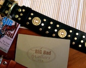 Custom Dog Collar  Stagecoach -- Black Latigo Leather