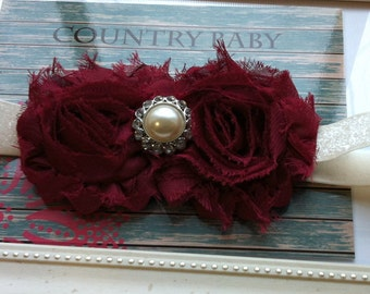 Burgundy Headband...Holiday Headband...Christmas Headband...Maroon Headband...Shabby Rose Headband