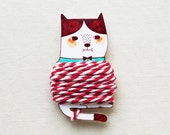 Handmade Cat Thread Holder with 4.5 Meter Bakers Twine - Shrink Plastic Thread Holder