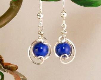 Lapis Lazuli sterling Silver Drop Earrings, Small Royal Blue Gemstone Wire Dangle Earrings