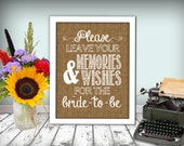 Bridal Shower Sign Memories And Wishes Burlap Printable 8x10 PDF DIY Rustic Shabby Chic Woodland Bridal Shower Party Printable