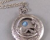 Siren's Birthstone,Mermaid Necklace,Birthstone Necklace,Mermaid Locket,Birthstone Locket,Personalized Locket,Mermaid Jewelry,Handmade