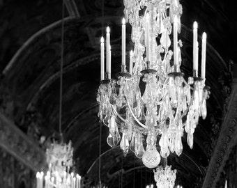 Chandelier Print, Versailles Photo, Black and White Photography, Chandelier Wall Art, Bedroom Wall Art