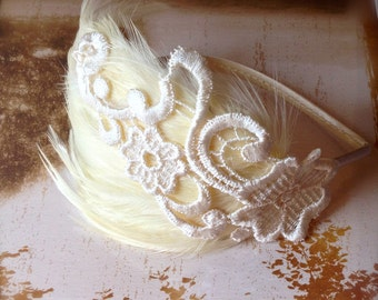 Ivory feather fascinator headband. A chic classic with a touch of lace.