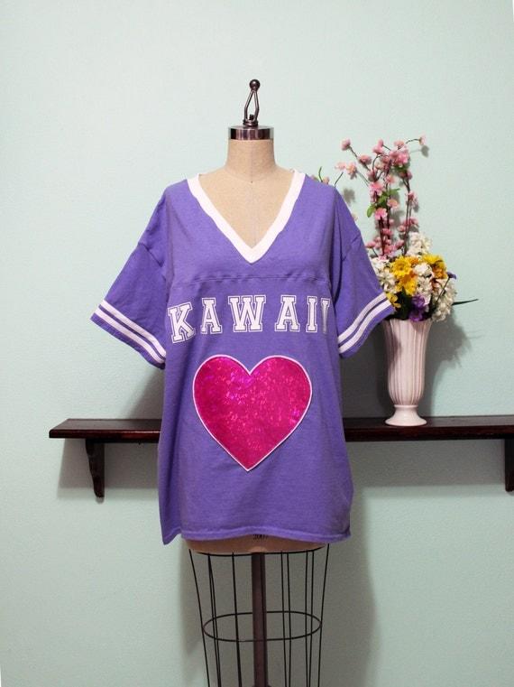 Kawaii Hologram Heart Jersey Style T-Shirt Pastel Goth Sporty Oversized Look Size XS S M L Xl 2X 3X 4X Plus Size