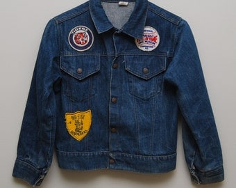 1970's kids jean jacket with patches/ 70's kids jean jacket/ Detroit Tigers