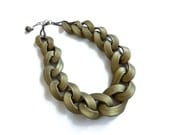 Old Gold Chain Necklace, Oversized Chain Statement Necklace in Bronze Old Gold