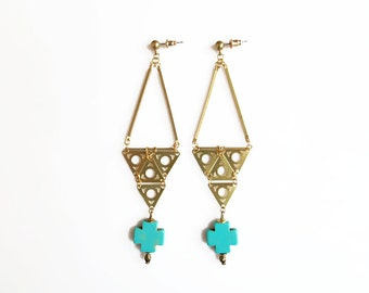 Boho Statement Earrings, Long Triangle Earrings, Turquoise Earrings, Teal Gold Earrings