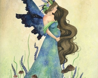 Fairy Art Print - Fairy Mother - fantasy. watercolor art. pregnancy. motherhood. green. blue. mother earth. mother's day.