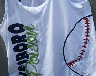 Baseball or softball flowy tank available in Womens and girls sizes. Personalize with your team name and colors