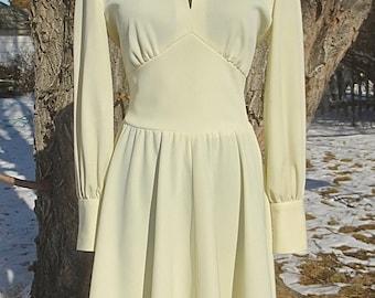 Vintage 1970's Ivory Mini Dress w/Rhinestone Cuffs & Peek-A-Boo Bodice - Poly Party Dress