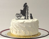 DOG + BRIDE + GROOM Personalized Silhouette Wedding Cake Topper + Pet Dog Mr & Mrs Monogram Wedding Cake Topper Bride and Groom Cake Topper