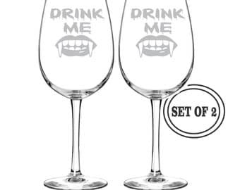 2 Etched Wine Glasses DRINK ME VAMPIRE Halloween Gift Vampire Wine Glass Vampire House Warming Gift Halloween Party