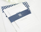 Navy Wedding Invitation - Navy Blue - Wedding Invite - Date Monogram Design - Dark Blue, Modern Invitation  - Sample Set