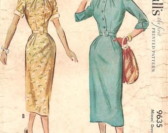1950s Slim Shirtwaist Dress with Narrow Collar - Vintage Pattern McCalls 9635 - Bust 32