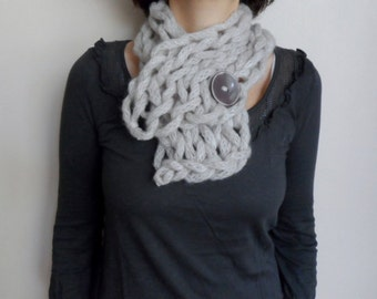 Chunky Cowl Scarf, Knit Neckwarmer Collar with Button, Oatmeal Cowl