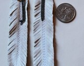 white upcycled leather feather earrings