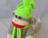 Personalized Classic Sock Monkey Doll,  Choose Your Color Sock Monkey or Hat Set. Child's Toy