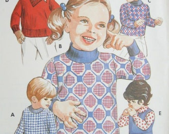 Kwik Sew 507 Boys or Girls Pullover Sweater Vintage Sewing Pattern Multi Size Pattern