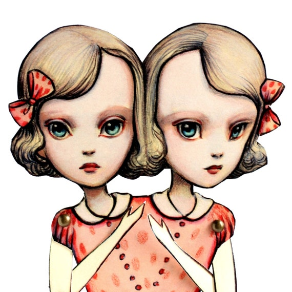 Last in Stock - You Are So Special - The Conjoined Twins -Fully assembled articulated paper doll by Mab Graves