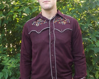 40s Western Shirt Mens Vintage Miller Embroidered Yoke Rockabilly S M