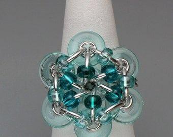 Chainmaille Ring- Glistening Bloom- Chainmaille with glass- Aluminum/Aqua/Teal