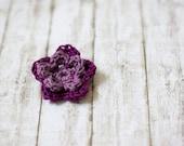 Crochet flower brooch in dark purple eggplant and lavender purple cotton yarn brooch