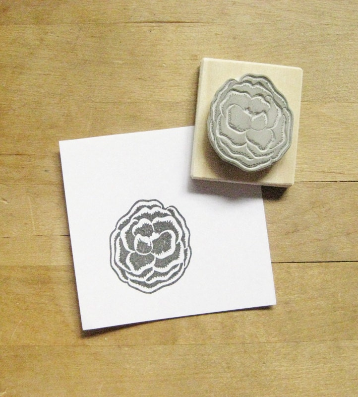 Poppy hand carved rubber stamp from extase on etsy studio