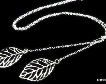 Necklace - Silver Leaf Lariat