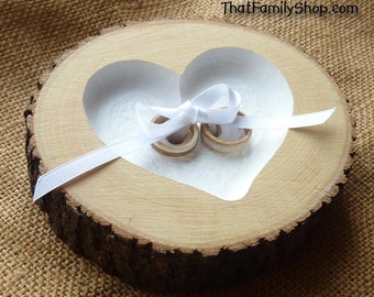 Wood Heart Ring Bearer Pillow Log with Ribbon Tie-Down, Rustic Dish Wedding Engraved