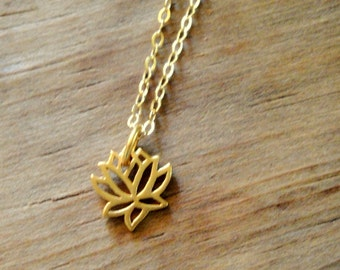 Tiny Lotus Sterling Silver Necklace