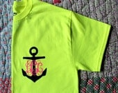Custom Anchor Monogram Vinyl Pressed Neon Yellow Tshirt