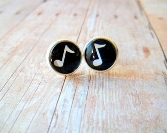 M U S I C - Black and White Music Note, Photo Glass Cab, Silver Plated Stud Earrings