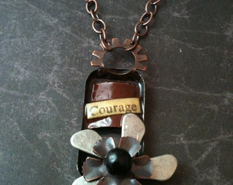 Courage Steampunk Flower Necklace