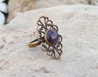 Filigree Ring with Amethyst Gemstone Ring - Adjustable band - Purple Ring - Gypsy Ring - Rustic Jewelry