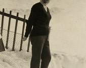 Vintage Winter Photograph - Woman in the Snow