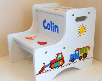 Large Personalized Two Step Stool Construction Trucks and Tools