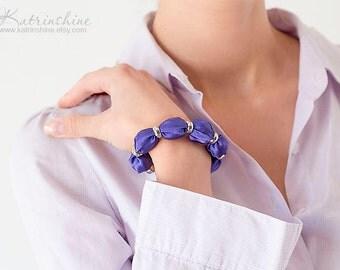 Purple bracelet - fabric bead bracelet - textile bracelet