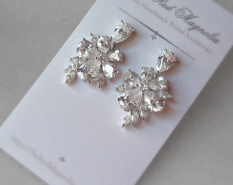 Cubic Zirconia Earrings, Crystal Earrings, Bridal Earrings - CHLOE